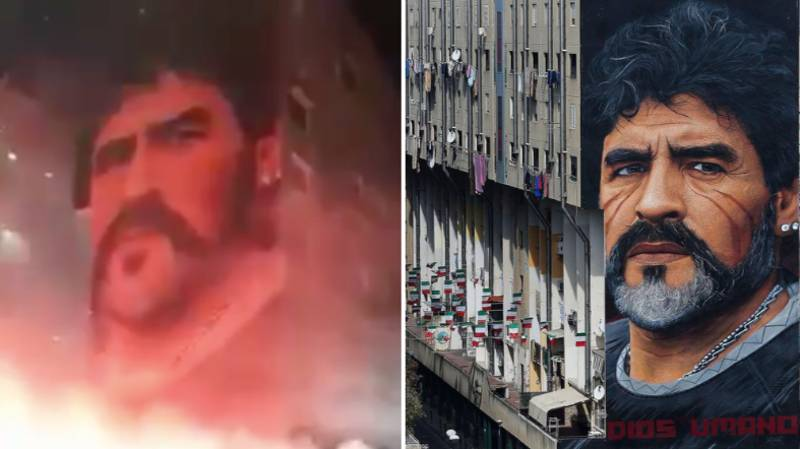 Diego Maradona Mural Lit Up With Pyro After Napoli And Argentina Legend's Passing