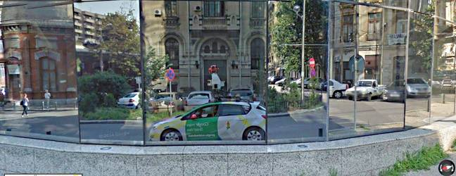A mirror image of the Google Maps Street View Car. Credit: Google Maps