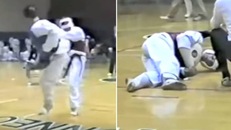 Rare Footage Of Joe Rogan Winning Taekwondo Fight With Spinning Back Kick KO