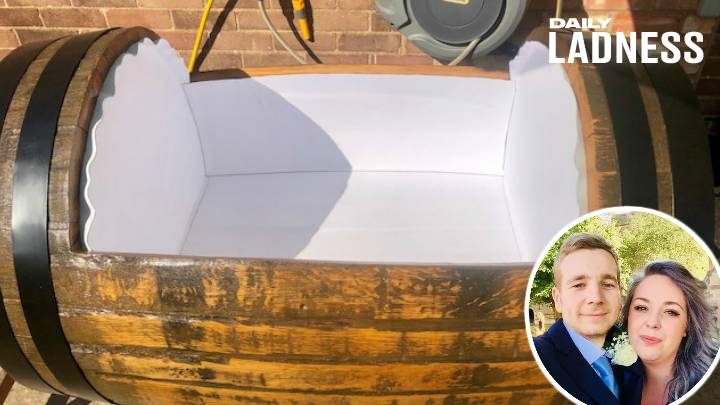 ​Dad-To-Be Builds Sleeper Cot Out Of Jack Daniel's Barrel For His Baby