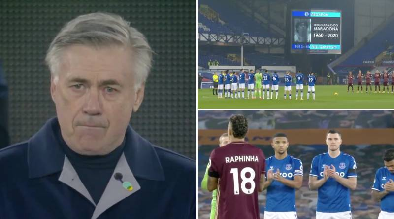 Everton Manager Carlo Ancelotti Breaks Into Tears During Maradona Tribute
