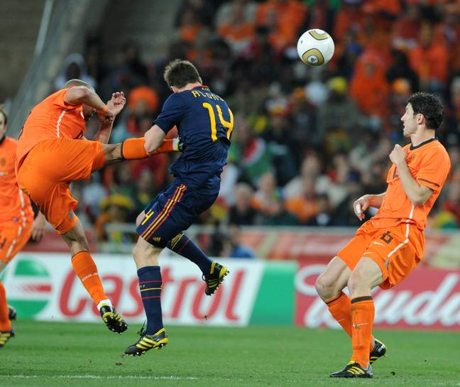 De Jong's kick on Xabi Alonso is too iconic for just one angle. Image: PA Images.