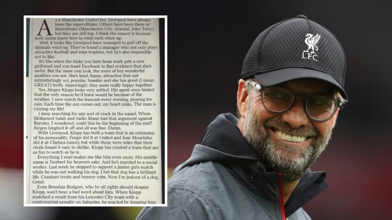 Manchester United Fan Writes Epic Column About How Much He Loves Jurgen Klopp