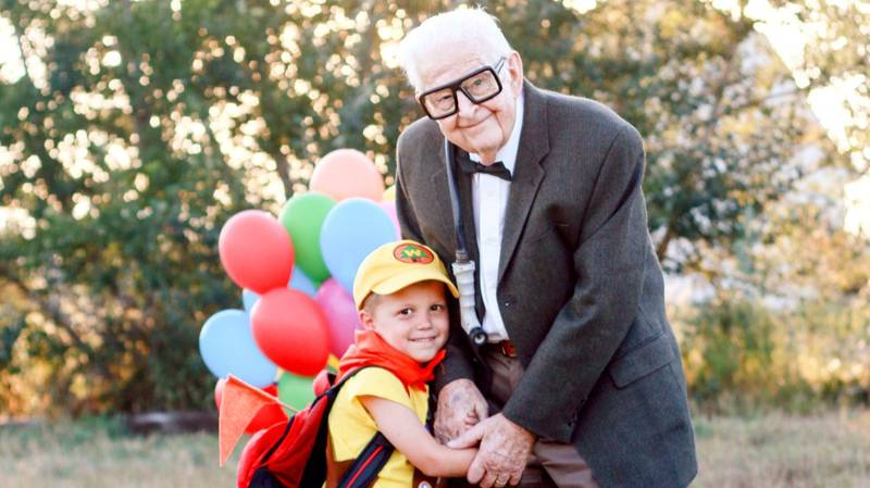 Five-Year-Old Boy's 'Up' Photoshoot With 90-Year-Old Great-Grandparent Melts Hearts