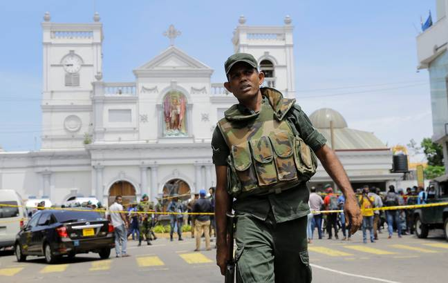 Sri Lankan Army soldiers secure the area around St. Anthony's Shrine. Credit: PA
