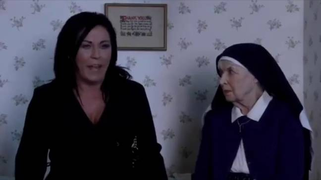 Kat Slater's moment with Sister Ruth came in at number one. (Credit: BBC)