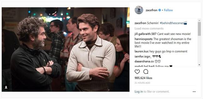 Zac has been posting behind the scenes pictures on to social media. Credit: Instagram/@zacefron