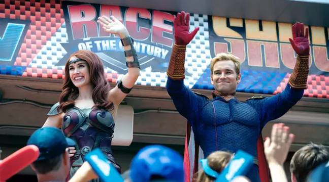 Superheroes Homelander (Antony Starr) and Queen Maeve (Dominique McElligott) in The Boys. Credit: Amazon Prime