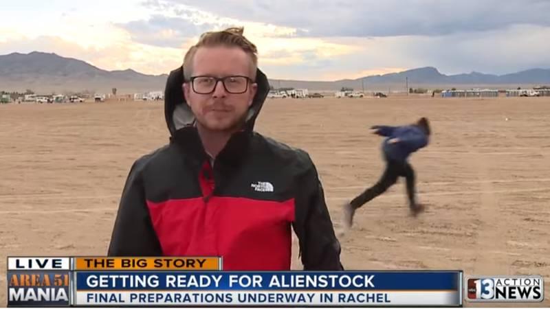 Lad Naruto Runs Past Reporter At Area 51 During Live News Broadcast